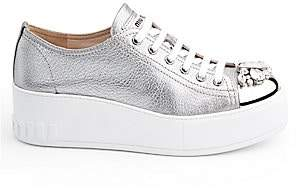 Miu Miu Women's Embellished Cap-Toe Metallic Leather Platform Sneakers