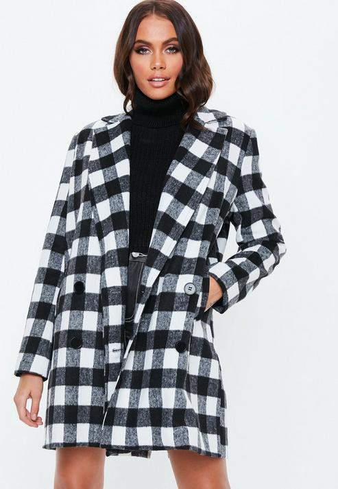 Monochrome Double Breasted Formal Coat, Black