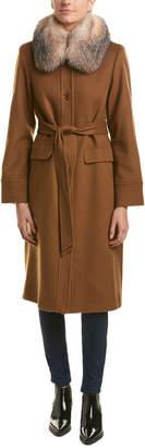 Sofia Cashmere sofiacashmere Sofiacashmere Belted Wool-Blend Coat