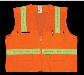 2W 8038-M 4XL Mesh Multi-Pocket Surveyor Vest - Orange, 4 Extra Large