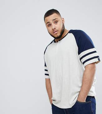 BadRhino Big Short Sleeve Grandad Baseball T-Shirt In Navy