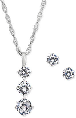 Charter Club Charter Triple Crystal Pendant Necklace & Stud Earrings Set, Created for Macy's