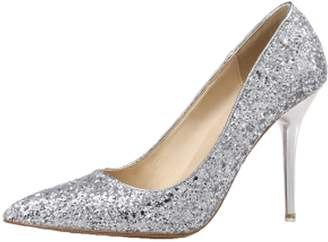 Camilla And Marc Royou Yiuoer Women Pumps 9.5 CM Pointed Toe Sequins Pure Color High Heel Stiletto Wedding Pumps Slip On 8.5 B(M) US