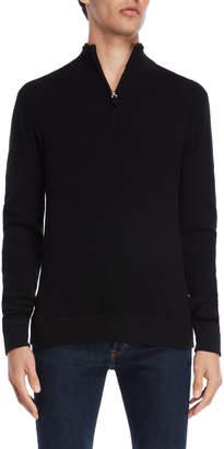 Br.Uno Ferraro Cashmere Quarter-Zip Mock Neck Sweater