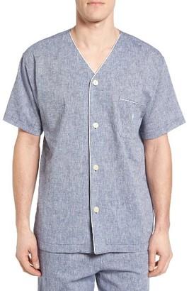 Men's Polo Ralph Lauren Linen & Cotton Pajama Shirt $56 thestylecure.com