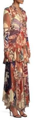 Etro Western Silk Patchwork Ruffle Gown