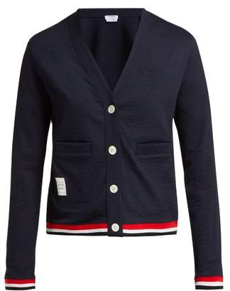 Thom Browne Seersucker Cotton Blend Cardigan - Womens - Navy Multi