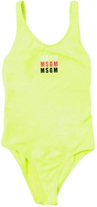 MSGM Logo Print Lycra One Piece Swimsuit