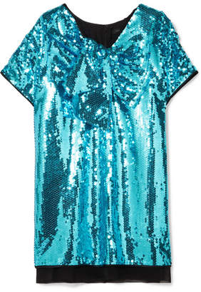 Marc Jacobs Satin-paneled Sequined Georgette Mini Dress - Blue