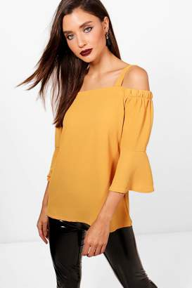 boohoo Rosie Cold Shoulder Ruffle Sleeve Blouse