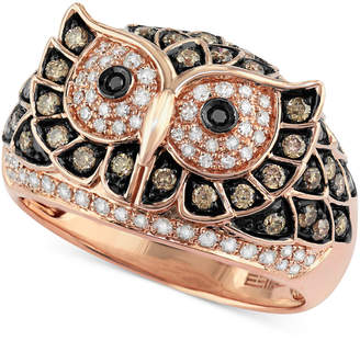 Effy Confetti by White and Brown Diamond Owl Ring (3/4 ct. t.w.) in 14k Rose Gold