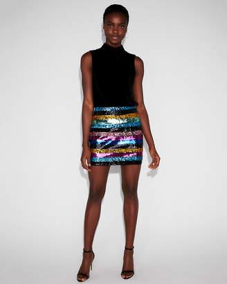 Express Petite High Waisted Sequin Stripe Mini Skirt