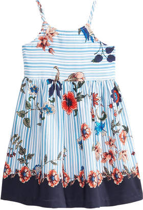 Bonnie Jean Striped Floral-Print Dress, Little Girls