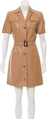 Michael Kors Leather Knee-Length Dress