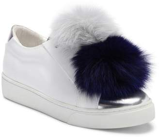 Here / Now Arain Genuine Fox Fur Pompoms Sneaker