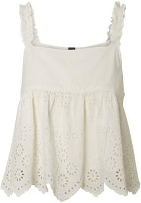 Vero Moda Winnie Embroidered Ruffle Cotton Tank Top