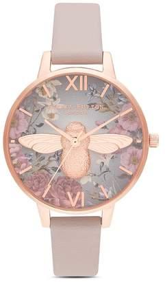 Olivia Burton Rose Gold-Tone Bee Motif Watch, 34mm