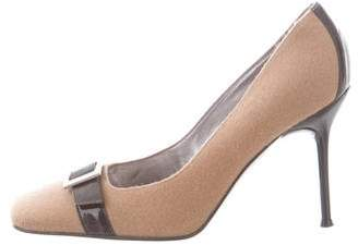 Dolce & Gabbana Patent Leather-Trimmed Square-Toe Pumps