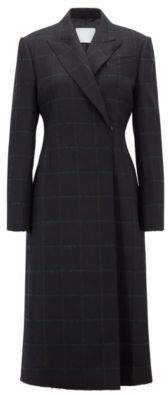 BOSS Hugo Gallery Collection double-breasted coat in a checkered wool 4 Patterned