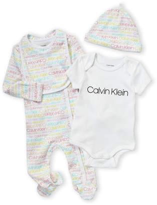 Calvin Klein Newborn/Infants) 4-Piece Logo Bodysuit & Footie Set