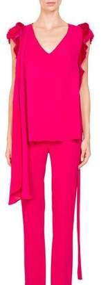 Givenchy V-Neck Ruffled Shoulder Self-Tie Belt Silk Georgette Top