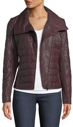 Neiman Marcus Leather Collection Quilted Lamb Leather Jacket