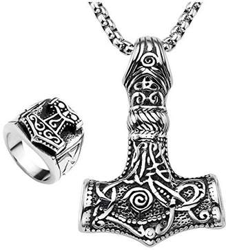 Celtic Zysta Mens Stainless Steel Viking Norse Thor's Hammer Mjolnir Pendant Necklace + Finger Ring, Silver Black Triquetra Knot Amulet Jewelry Set, Size 9-13