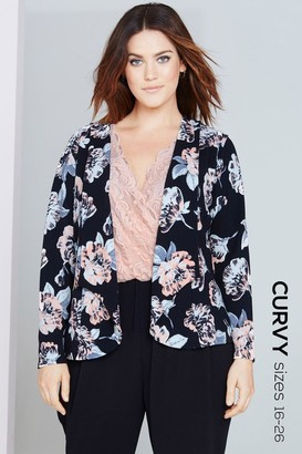 Girls On Film Floral Print Waterfall Jacket