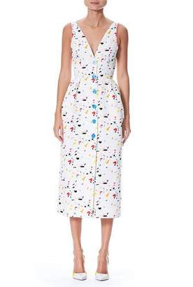 Carolina Herrera Sleeveless V-Neck Button-Front Printed Midi Dress