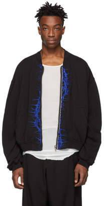 Haider Ackermann Black Jersey Embroidered Perth Bomber Jacket