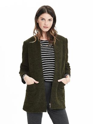 Zip Front Collarless Boucle Coat $228 thestylecure.com