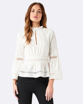 Abby Embroidered Floral Trim Blouse