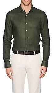 Barneys New York MEN'S SLUB LINEN SHIRT-DK. GREEN SIZE S