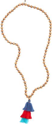 Vineyard Vines Wood Bead Triple Tassel Necklace