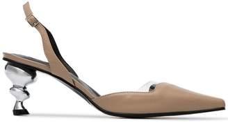 Yuul Yie nude Lissom 70 slingback metal heel pumps