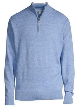 Peter Millar Men's Crown Cool Wool Linen Quarter-Zip Sweater - Vessel - Size Small