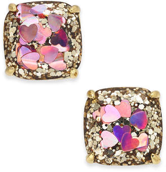 Kate Spade Gold-Tone Heart Glitter Square Stud Earrings