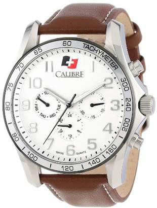 Buffalo David Bitton Calibre Men's SC-4B1-04-001.7 Stainless Steel and Brown Leather Watch