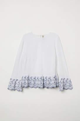 H&M Flounce-sleeved Blouse - White