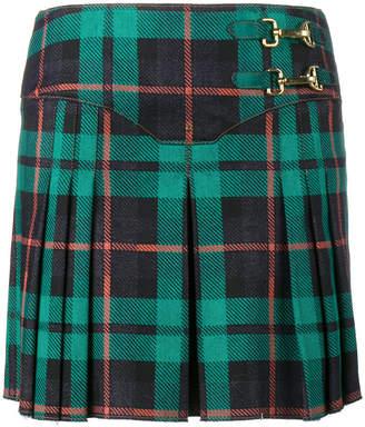 Esteban Cortazar pleated tartan denim mini-skirt