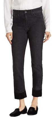 Ralph Lauren Velvet Cuff Straight Jeans in Black