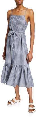 The Fifth Label Pixel Striped Spaghetti-Strap Ruffle-Hem Midi Dress