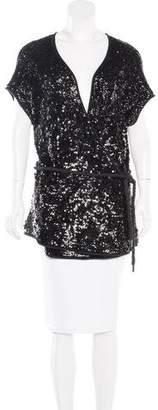 Donna Karan Cashmere & Silk-Blend Sequined Top