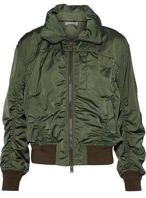 Vince Ruched Shell Hooded Bomber Jacket