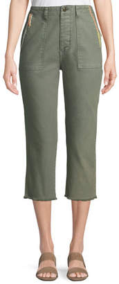 The Great The Straight-Leg Cropped Cotton Army Pants