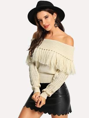 Shein Off Shoulder Fringe Sweater