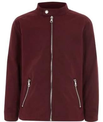 River Island Boys dark red racer neck bomber jacket