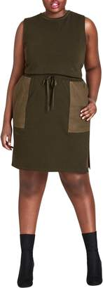 City Chic Army Pocket Cotton Dress