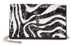 Saint Laurent Kate Sequin Zebra-Print Crossbody Clutch