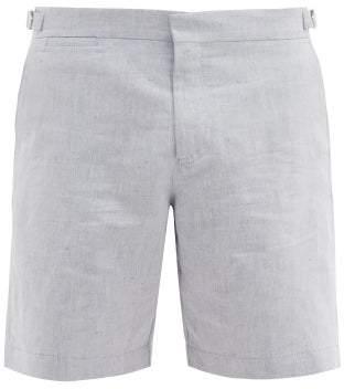 Orlebar Brown Norwich Slubbed Linen Blend Shorts - Mens - Blue